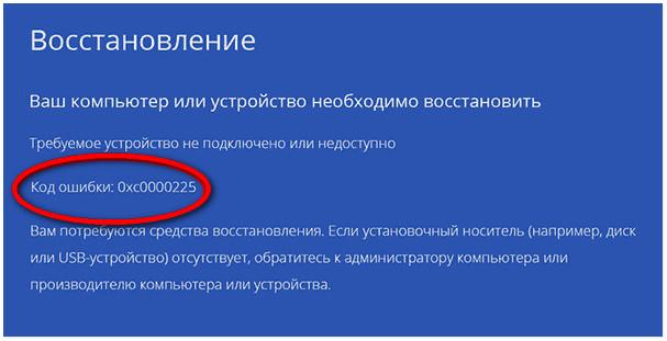 Ошибка 0xc0000225 в Windows 10 и как ее исправить